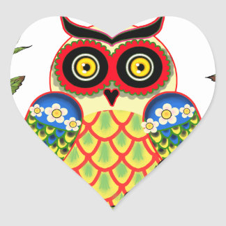 Adesivo Coração Estilo da coruja e do mexicano dos rosas