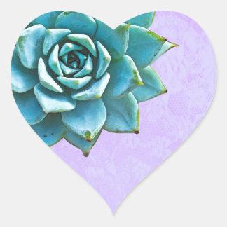 Adesivo Coração Laço da lavanda da aguarela do Succulent