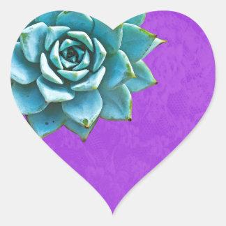 Adesivo Coração Laço do roxo da aguarela do Succulent