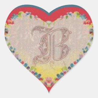 Adesivo Coração Letra B
