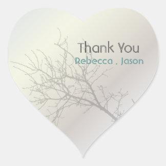 Adesivo Coração obrigado exterior do casamento da árvore dos