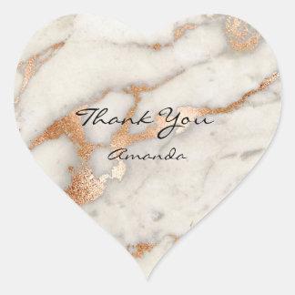 Adesivo Coração Obrigado nupcial conhecido de cobre de mármore