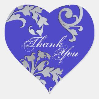 Adesivo Coração Obrigado selar - o casamento floral azul & de