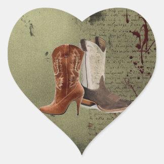 Adesivo Coração obtendo as botas de vaqueiro ocidentais engatadas