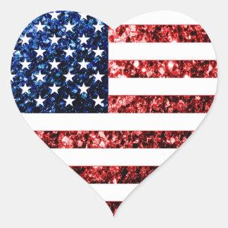 Adesivo Coração Os EUA embandeiram brilhos dos sparkles do