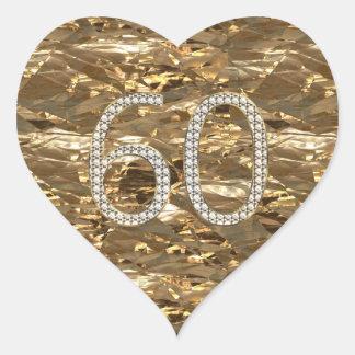 Adesivo Coração Ouro brilhante do coração do casamento de diamante