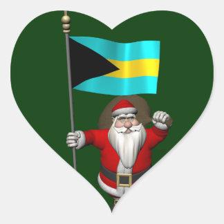 Adesivo Coração Papai Noel com a bandeira dos Bahamas