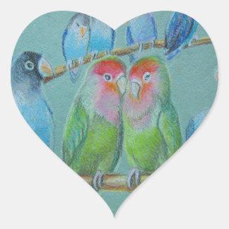 Adesivo Coração Pastel do óleo dos Lovebirds