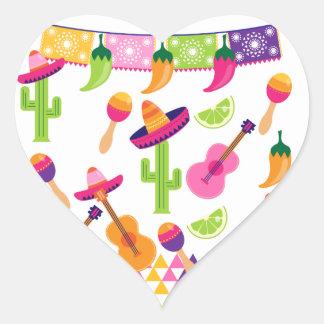 Adesivo Coração Pimentas mexicanas do limão do Saguaro do Sombrero