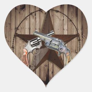 Adesivo Coração pistolas rústicas do vaqueiro da estrela de texas