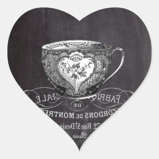 Adesivo Coração Quadro Alice no teacup do tea party do país das