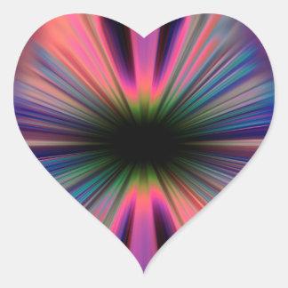 Adesivo Coração Raios coloridos do sunburst