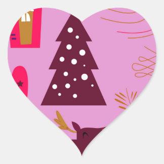 Adesivo Coração Rosa do marshmallow do design do Xmas