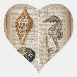Adesivo Coração seashell francês do vintage do país do impressão