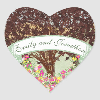 Adesivo Coração Selo floral do casamento do carvalho de Brown do