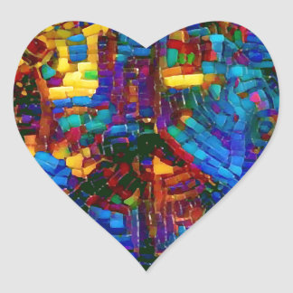 Adesivo Coração Símbolo de paz colorido do mosaico