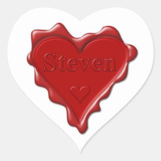 Adesivo Coração Steven. Selo vermelho da cera do coração com