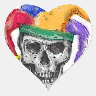 Adesivo Coração Tatuagem de riso do crânio do bobo da corte