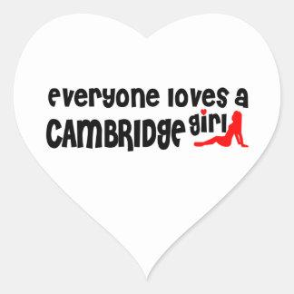 Adesivo Coração Todos ama uma menina de Cambridge