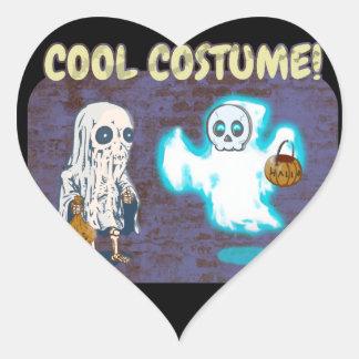 Adesivo Coração Traje do fantasma e do esqueleto