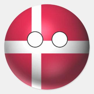 Adesivo Countryball Dinamarca - expressão neutra