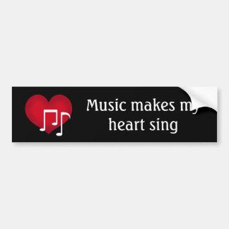 Adesivo De Para-choque A música faz meu coração cantar o coração vermelho