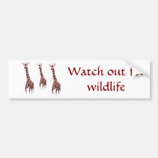 Adesivo De Para-choque Arte dos animais selvagens do girafa com mensagem