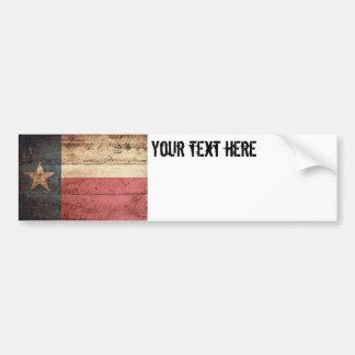 Adesivo De Para-choque Bandeira do estado de Texas na grão de madeira
