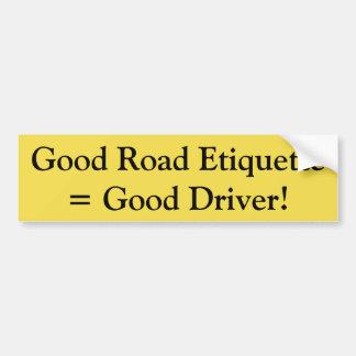 Adesivo De Para-choque Boa etiqueta da estrada = bom motorista!  etiqueta