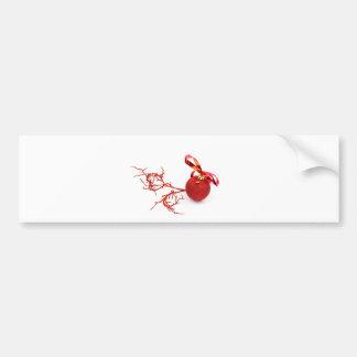 Adesivo De Para-choque Bola vermelha do Natal com o galho no fundo branco