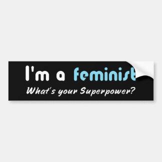 Adesivo De Para-choque Branco feminista do slogan do poder super no preto