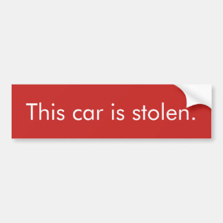 Adesivo De Para-choque Carro roubado