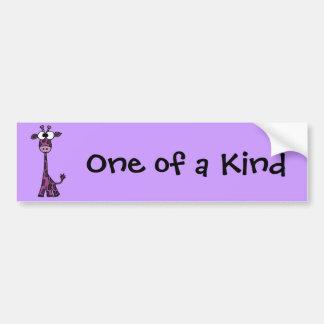 Adesivo De Para-choque Desenhos animados roxos engraçados do girafa