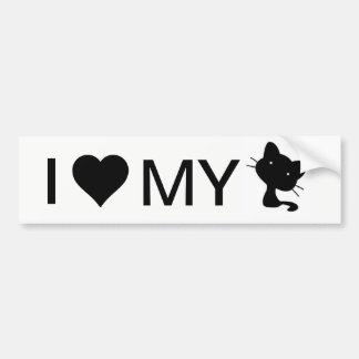 Adesivo De Para-choque Eu amo meu autocolante no vidro traseiro do gato