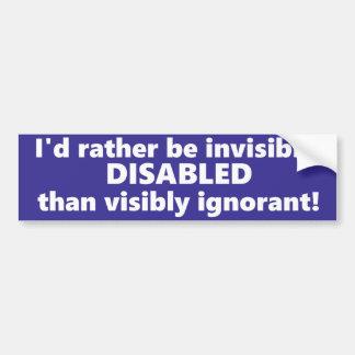 Adesivo De Para-choque Eu preferencialmente seria invisìvel desabilitei