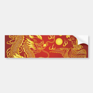 Adesivo De Para-choque Favor chinês do casamento de Phoenix do dragão