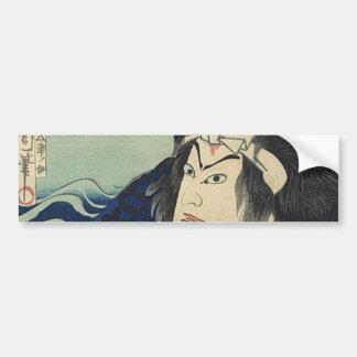 Adesivo De Para-choque guerreiro japonês do samurai das ondas de oceano