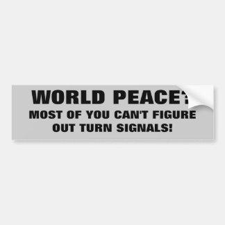 Adesivo De Para-choque Paz ou faróis intermitentes de mundo?