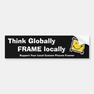 Adesivo De Para-choque Pense global, quadro localmente