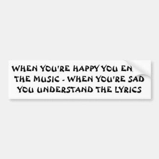 Adesivo De Para-choque Poemas líricos tristes da música feliz