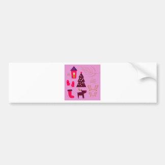 Adesivo De Para-choque Rosa do marshmallow do design do Xmas