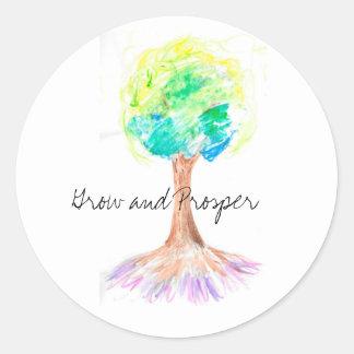 Adesivo Design da árvore do arco-íris da aguarela