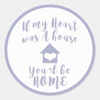 Adesivo Design redondo branco da casa do coração