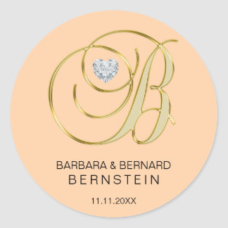 Adesivo Diamante Monogrammed do coração da letra B do