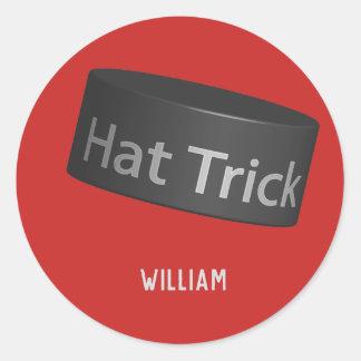 Adesivo Disco do hat-trick com nome