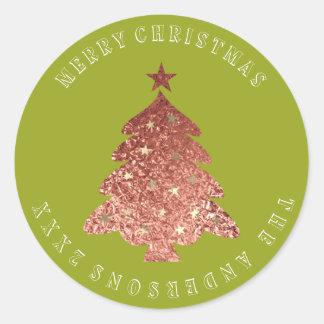 Adesivo Ervilha verde do ouro cor-de-rosa da árvore do
