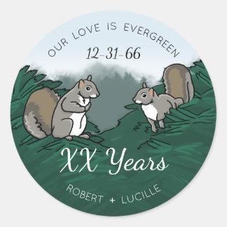 Adesivo Esquilos verdes personalizados do amor do