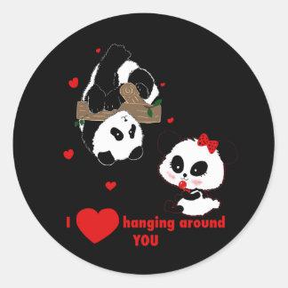 Adesivo Eu amo pendurar em torno de você pandas