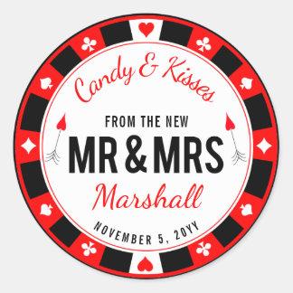 Adesivo Favor do casamento da microplaqueta de póquer do