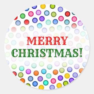 """Adesivo """"Feliz Natal!"""" + Muitos círculos coloridos"""